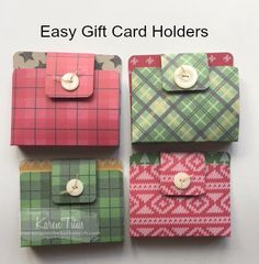 "Easy gift card holders made with 6"" x 6"" designer series paper. Click through for instructions."