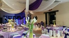Decoracion blanco y purpura