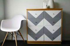 Emma-Jayne Scott of Drawn In Upcycled Furniture, Home Decor Furniture, Furniture Makeover, Painted Furniture, Vintage Drawers, Set Of Drawers, Paint Chevron Stripes, Unwanted Furniture, Wooden Wardrobe