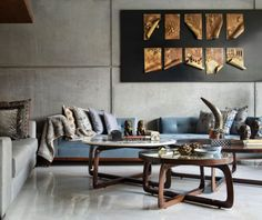 Home tour: This New Delhi home is the very definition of the India Modern aesthetic Exposed Concrete, Concrete Wall, New Delhi, Lounge Areas, Interior Design Studio, Grey Walls, Dining Area, House Tours, Contemporary Design