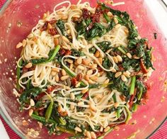 White beans, spinach, and linguine pasta. Vegetarian! Low fat, low cal, high protein!