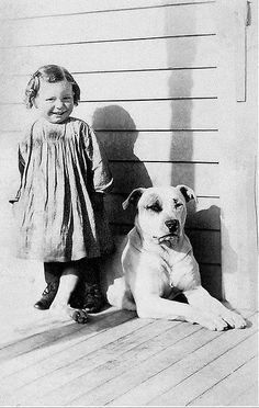 "Did you know? For many years (in the late 1800′s and into the early 1900′s) in America, Pit Bulls were known as ""The Nanny Dog"" and were often in charge of babysitting the children. If you wanted your children kept safe, you got a Pit Bull because they are so loyal and protective. via @KaufmannsPuppy"