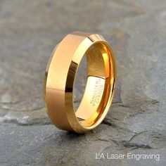 Brushed Tungsten Wedding Band Mens Ring Mens by LALaserEngraving