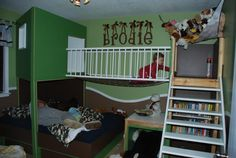 Very cool little boy's room with a suspension bridge, fort and everything