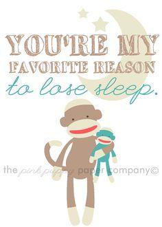 My Favorite Reason to Lose Sleep 5x7 sock monkey nursery print