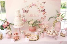 Styling Melissa's Christening Celebration Event with pastel pink flowers and butterflies 🦋 Christening Table Decorations, Christening Themes, Christening Party, Baby Girl Christening, Butterfly Party Decorations, Butterfly Birthday Party, Butterfly Baby Shower, Garden Birthday, Baptism Party Girls