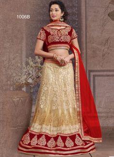 Cream And Red Net With Embroidery Work Designer Lehenga Choli http://www.angelnx.com/Lehenga-Choli