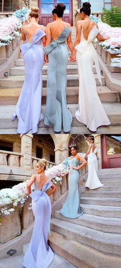 Mermaid Bridesmaid Dresses,Spaghetti Straps Bridesmaid Dresses,Backless Bridesmaid Dresses,Appliques Bridesmaid Dresses,Bow knot Bridesmaid Dresses,Bridesmaid Dresses 2017,Long Bridesmaid Dresses