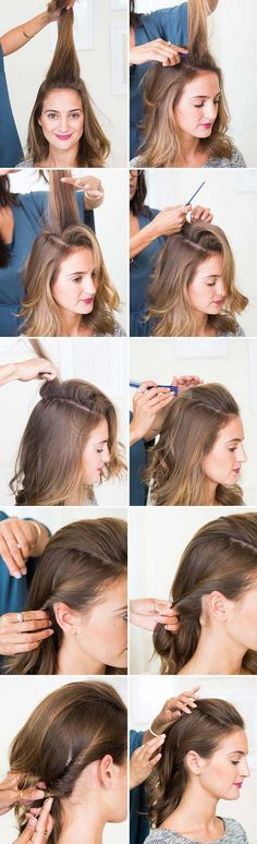 Amazing Half Up-Half Down Hairstyles For Long Hair - The Half-Up PompaDour - Easy Step By Step Tutorials And Tips For Hair Styles And Hair Ideas For Prom, For The Bridesmaid, For Homecoming, Wedding, And Bride. Try An Updo Or A Half Up Half Down Hairstyle For Long Hair Or A Casual Half Ponytail For Blonde Or Brunette Hair. Easy Tutorial For Straight Hair Including A Top Knot, Loose Curls, And The Simple Half Bun. Styles And Hairdos For Veils, For Summer, For Fall, And For Winter. Try Bangs…