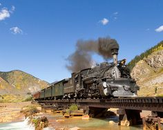 Durango & Silverton Some trains are maintained solely for sightseeing and tourism purposes. That is the case with the Durango & Silverton Narrow Gauge Railroad in Colorado. This old-fashioned, narrow gauge line stretches for 45 miles and gains nearly Train Tracks, Train Rides, Train Trip, Silverton Train, Silverton Colorado, Durango Colorado, Durango Train, Diesel, Old Steam Train