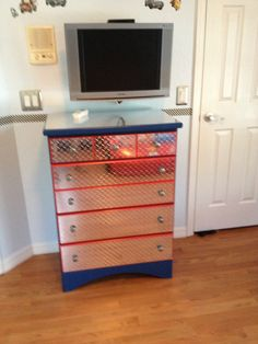 cars themed bedroom old chest with fake diamond plate