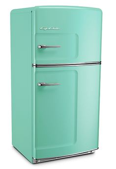 Turquoise/ teal (ish) retro, vintage refrigerators that are actually new and awesome. Yes please!