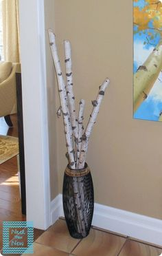 Decorating with Birch Branches birch tree decor. Birch Decorations, Birch Tree Decor, Log Decor, Diy Home Decor, Decorating With Tree Branches, Tree Branch Decor, Birch Logs, Birch Branches, Birch Trees
