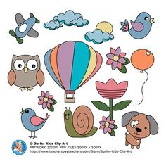 36 Set Spring Fun Clip Art (black and white outline images included). Includes dog, owl, 2 bird, 2 flowers, clouds, clouds with sun, party balloon, hot air balloon, airplane, snail.Each image has two options included.Black and white outlines included.High quality PNG format files with transparent backgrounds.Please contact me if you have any queries or suggestions.Surfer Kids Clip Art is created by Pieter Els.