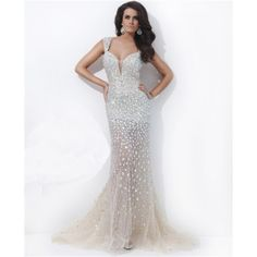 Sexy Unique Deep V Neck Backless Long Champagne Nude Tulle Beaded Evening Prom Dress http://www.sofiehouse.com/sexy-unique-deep-v-neck-backless-long-champagne-nude-tulle-beaded-evening-prom-dress.html