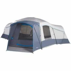 Camp in comfort in this Ozark Trail weather resistant cabin tent. There are 2 removable room dividers and 3 doors to maximize privacy or create one large 240 sqft room. This cabin tent can comfortably sleep 16 in sleeping bags or fit 4 queen size airbeds. Family Camping, Tent Camping, Camping Gear, Camping Hacks, Camping Cabins, Camping List, Camping Stuff, Family Tent, Camping Equipment