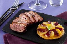 Recette de Magret de canard rôti et sa tatin de pommes de terre au magret fumé