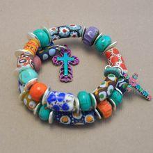 Handmade Peruvian Ceramic Beads, and African Krobo Bead Wrap Bracelet with Crosses