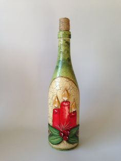 Christmas Candle Bottle by RosBelTreasures on Etsy Painted Wine Bottles, Wine Bottle Art, Hand Painted Wine Glasses, Wine Bottle Crafts, Jar Crafts Hand Painted Wine Glasses, Painted Wine Bottles, Lighted Wine Bottles, Glass Bottle Crafts, Wine Bottle Art, Bottle Candles, Red Candles, Pot Mason, Christmas Wine Bottles