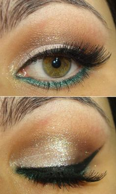 Apply white pencil eyeliner below eyebrow. Apply chocolate brown and black opaque shadows in crease and outer corner. Blend. Apply iridescent sparkly loose shadow over lid. Apply shimmer turquoise shadow under eye. Apply a thin line of brown shadow under turquoise. Re-apply iridescent shadow over turquoise. Finish with beige eyeliner pencil on waterline.