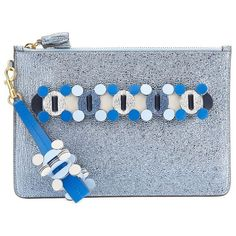 Anya Hindmarch Crinkled Leather Zip Pouch (€580) ❤ liked on Polyvore featuring bags, handbags, clutches, anya hindmarch purse, blue handbags, flower print handbags, floral clutches and metallic handbags