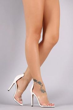 Triple Lucite Straps Open Toe Stiletto Heel - Beauty & Bronze Clothing and Accessories