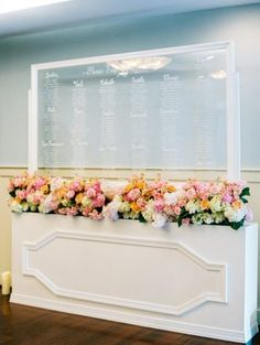 Lucite seating chart, escort card wall, acrylic place card wall, Bonnie Sen Photography