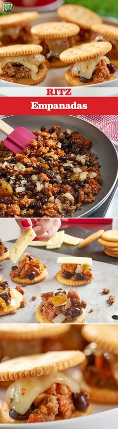 """The Big Game is a time for finger food, not forks. Enjoy some bite-size RITZ """"Empanadas"""" for a zesty spin on game time snacks. Cook up some ground beef, Mexican chorizo, onions, garlic, black beans and raisins. Seasoned with cumin and cinnamon then topped with pepper jack cheese, heated until it's melted, and a final RITZ Cracker, these are sure to be palate pleasers!"""