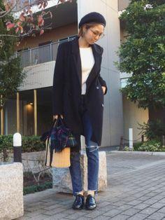 寒かった日のコーデ☺︎🌿 チェスターは暖かい♡ Instagram→mana.801
