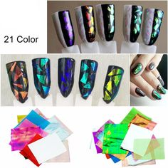 21 Color Pcs Holographic Nail Art Broken Glass Sticker