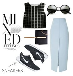 """""""Tricky Trend: Pencil Skirt & Sneakers"""" by qnniejas-770 ❤ liked on Polyvore featuring Wes Gordon, MANGO and NIKE"""