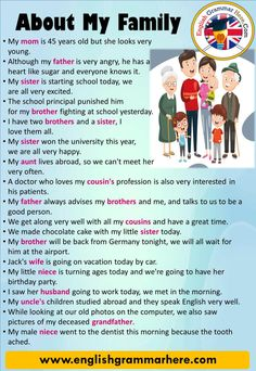 40 Sentences About My Family in English, Example Sentences 40 Sentences About My… – Grammar English Sentences, English Vocabulary Words, English Phrases, Learn English Words, English Study, Good Grammar, Teaching English Grammar, English Writing Skills, English Language Learning