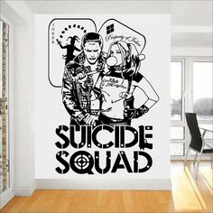 Quotes Suicide Squad Wall Decal Harley Quinn & Joker DC Stickers For Kids Bedroom Vinyl Art Mural Task Force X Home Decor #Affiliate