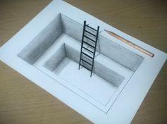 【トリックアート】紙に穴を開けてハシゴをかける方法 Trick Art on Paper, Drawing Hole&Ladder 3d Pencil Drawings, 3d Art Drawing, Drawing Skills, Art Drawings Sketches, Easy Drawings, Paper Drawing, Drawing Ideas, Illusion Drawings, Illusion Art
