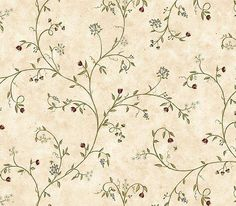 Primitive Country Wallpaper | Wildflower Trail Wallpaper is prepasted and has 20.5 inches pattern ...