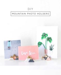 27 MORE Expensive Looking DIY Gifts. Crafts and DIY Gift Ideas for Him, for Her, for Family and Friends.  Perfect for Birthday, Christmas, Mom and Dad. | Mini Mountain Photo Holders | http://diyjoy.com/homemade-diy-gifts-pinterest