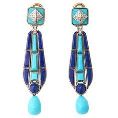 FRED LEIGHTON Egyptian Style Gold Earrings -