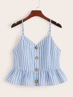 To find out about the Buttoned Peplum Striped Cami Top at SHEIN, part of our latest Tank Tops & Camis ready to shop online today! Pop Fashion, Teen Fashion, Fashion News, Fashion Outfits, Striped Cami Tops, Crop Tops, Casual Outfits, Summer Outfits, Cute Outfits