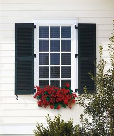 Exterior shutter hardware does not have to be intimidating or difficult. With this straight forward guide, you will be feeling confident enough to choose and install your own exterior shutter hardware! Louvered Shutters, Black Shutters, Diy Shutters, Interior Shutters, Wooden Shutters, Window Shutters, Window Boxes, Interior Door, Farmhouse Shutters