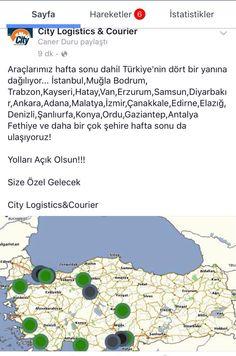 Araçlarımız hafta sonu dahil Türkiye'nin dört bir yanına dağılıyor... İstanbul,Muğla Bodrum, Trabzon,Kayseri,Hatay,Van,Erzurum,Samsun,Diyarbakır,Ankara,Adana,Malatya,İzmir,Çanakkale,Edirne,Elazığ,Denizli,Şanlıurfa,Konya,Ordu,Gaziantep,Antalya Fethiye ve daha bir çok şehire hafta sonu da ulaşıyoruz!  Yolları Açık Olsun!!!  Size Özel Gelecek  City Logistics&Courier