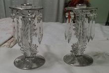 Fostoria Baroque ~  Pair of Lustre Candlesticks w/ Silver Overlay &  Crystal Prisms!!