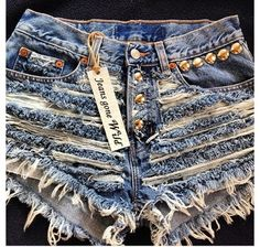 RIP IT UP High waisted denim shorts Studded super by jeansgonewild, $64.95