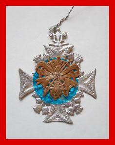 Rare german dresden cardboard medal, cotillion medal, ca. 1880 / 1900 (# 4167)