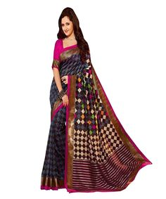 MAGENTA AND YELLOW VISCOSE SAREE WITH LATEST EMBROIDERY WORK BY SARIYA