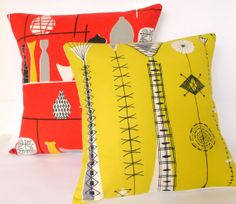 Rare Original 50s Kite Strings atomic Fabric Cushion Pillow - red Linear Flowers Lucienne Day era Mid Modern