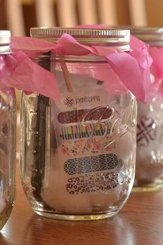 Mani or pedi in a jar. Jamberry Gift, Jamberry Party, Jamberry Consultant, Jamberry Nail Wraps, Mani Pedi, Manicure, Prize Ideas, Party Prizes, Jam Jar