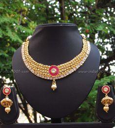 Stunning Kundan and Polki Necklace Set – India1001.com