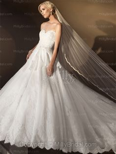 BallGown Sweetheart Lace Satin Floor-length White Appliques Wedding Dresses at Millybridal.com