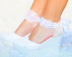 CAROLINE Platform Lace and Satin Espadrilles Wedding shoes
