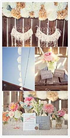 Love the pom poms they made themselves from the Martha Stewart tutorial. pink reception tablescape